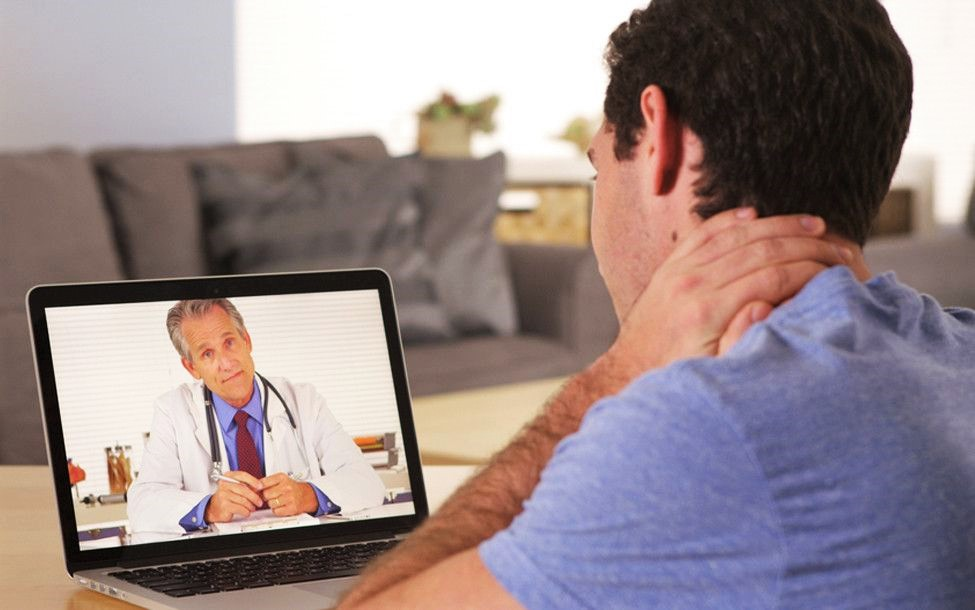 virtual video physiotherapy appointment by telehealth neck pain