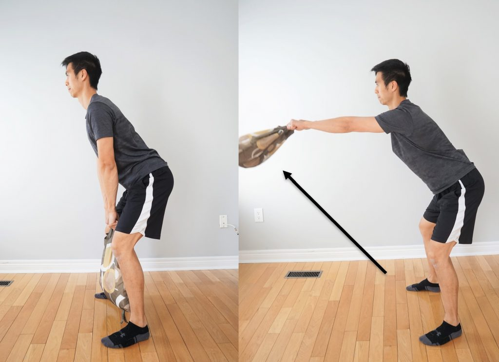 kettle bell exercise with a bag
