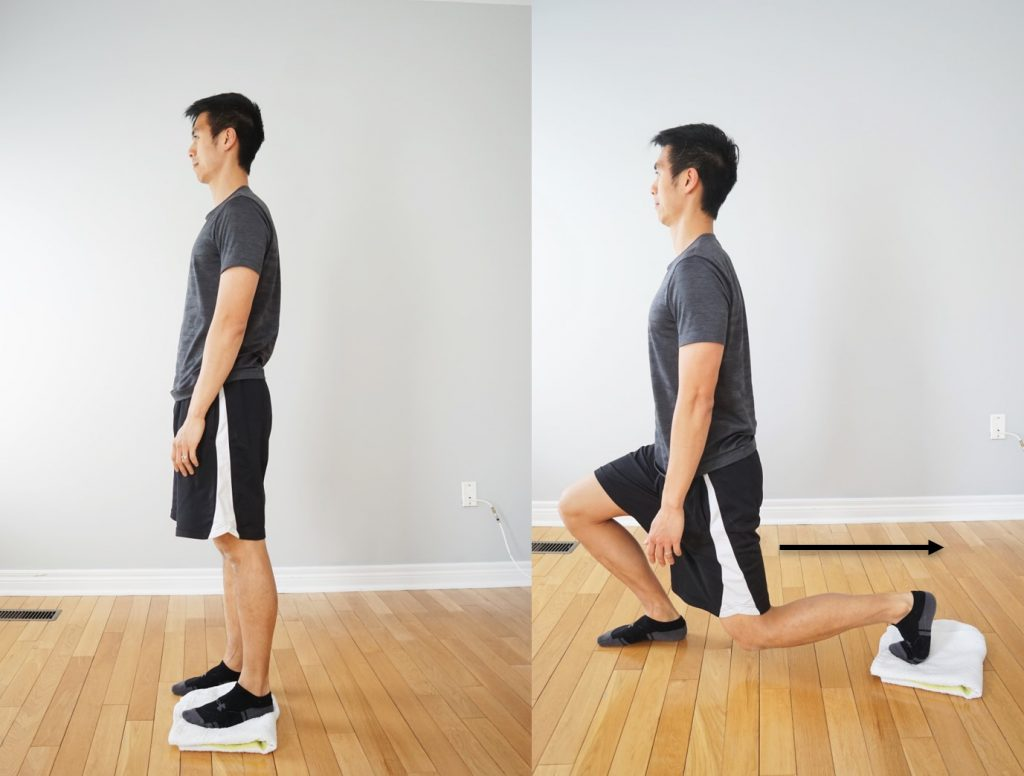 rear lunge with a towel