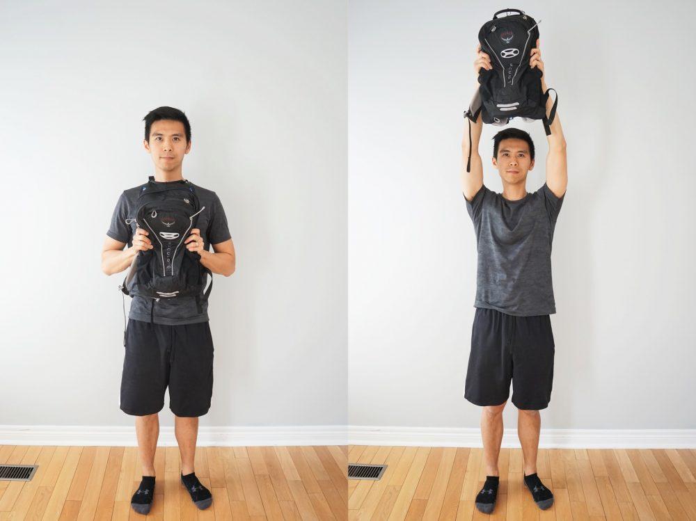 shoulder press with a backpack