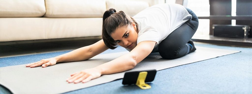 home workout using a mobile app